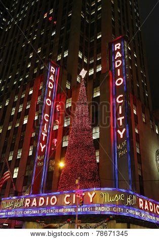 New York City landmark, Radio City Music Hall in Rockefeller Center decorated for Christmas