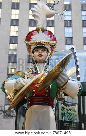 Wooden toy soldier crash cymbals Christmas decoration at the Rockefeller Center in Midtown Manhattan