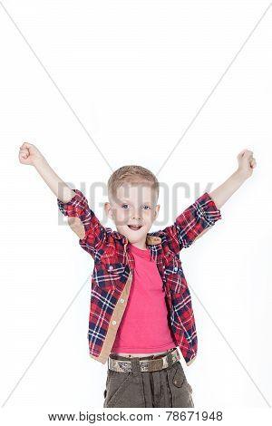 Portrait of happy little boy over white background