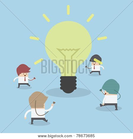 Businessman Walking To Light Bulb To Get Idea, Idea Concept