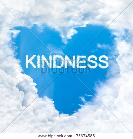Kindness Word Inside Love Cloud Blue Sky Only