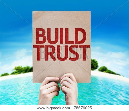 Build Trust card with beach background