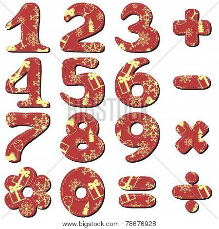 Scrapbook red Christmas numbers on white