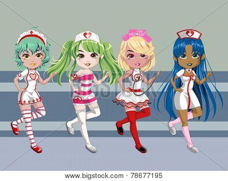 Nursing Girls Cartoon Character