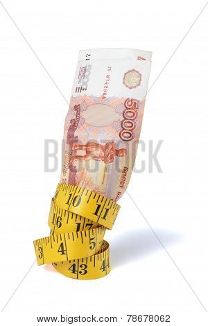 Ruble bills and mesure tape