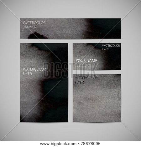 set of vector visual corporate identity with black paint waterco