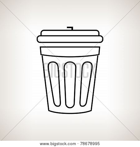 Silhouette Dustbin On A Light Background, Vector Illustration