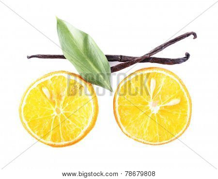 Still life of slicer of citrus isolated on white