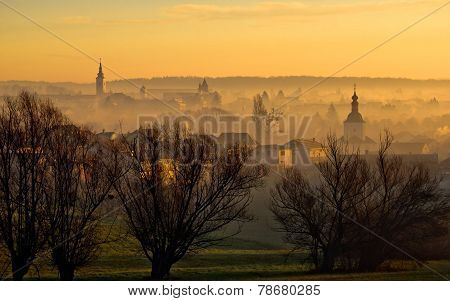 Town Of Krizevci Towers In Fog