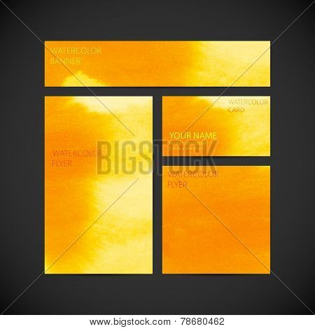 set of vector visual corporate identity with orange paint waterc
