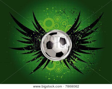 Fußball auf Grunge wings