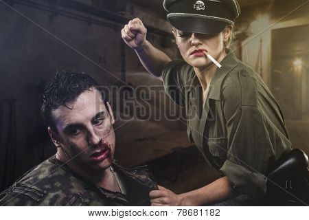 reenactment, Official German woman, representation of tyranny and oppression