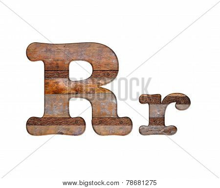 Letter R Wooden And Rusty Metal.