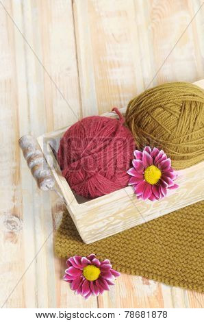 Two Wool Colorful Clews For Knitting