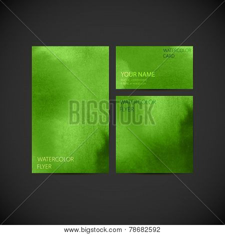 set of vector visual corporate identity with green paint waterco