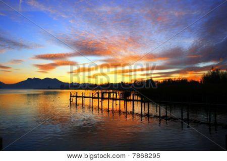 Lake Chiemsee At Sunset