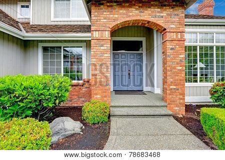 Entrance Porch With Brick Trim