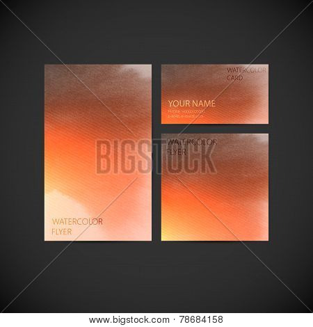 set of vector visual corporate identity with orange paint watercolor