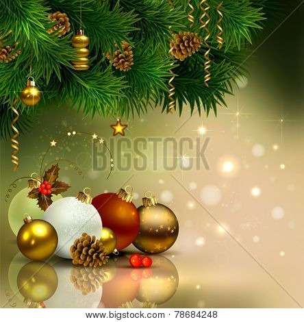 Christmas background with evening balls and green fir-tree