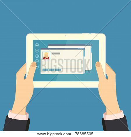 Hands holding a tablet, vector illustration eps 10