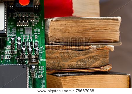 Computer System Board And Old Books