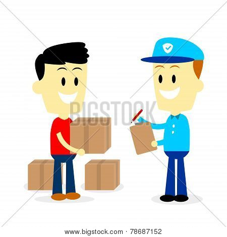Postman Delivering Parcels to a Man