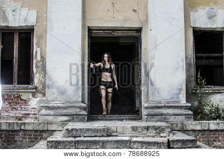 Girl in tomb