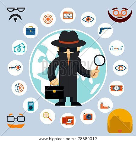 Spy with accessories icons