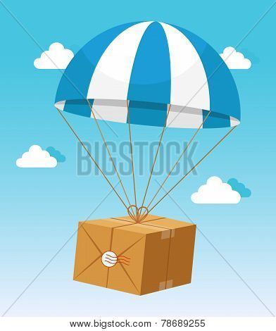 Blue and White Parachute Holding Delivery Box