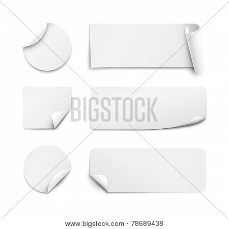 White paper stickers on white background