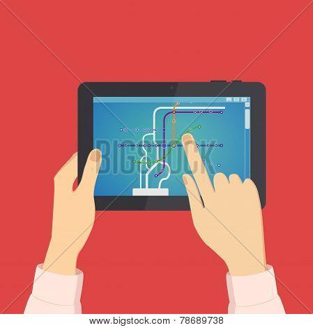 Man looks on the tablet metro scheme, vector illustration