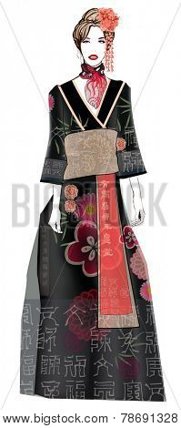 Fashion model in geisha style dress - Illustration ( all chinese and japanese characters are fictitious)