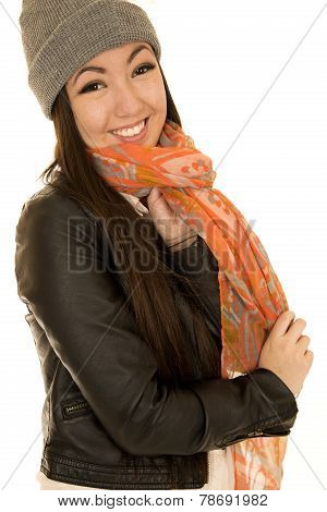 Happy Asian Caucasian Teen Model Wearing A Scarf And A Beanie