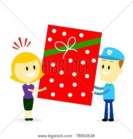 Postman Delivering A Big Present Gift to A Woman