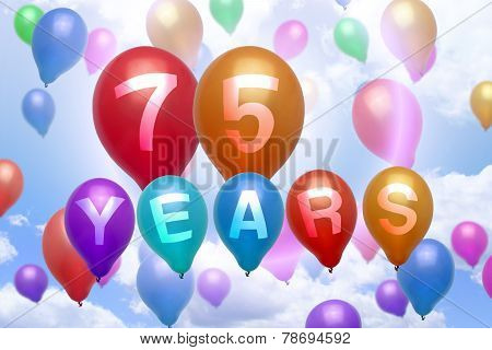 75 Years Happy Birthday Balloon Colorful Balloons