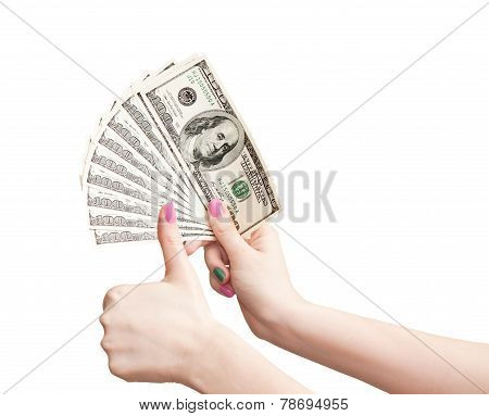 Woman's Hands Show Thumbs Up And Shows The Money, Isolated On White