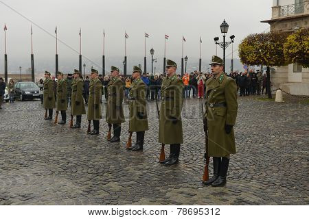 Sandor Palace - Changing Of The Guard, Hungary