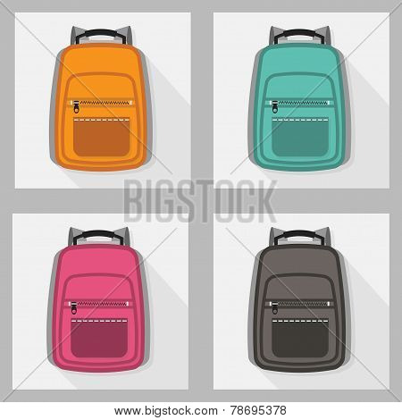 Set of backpacks with long shadow
