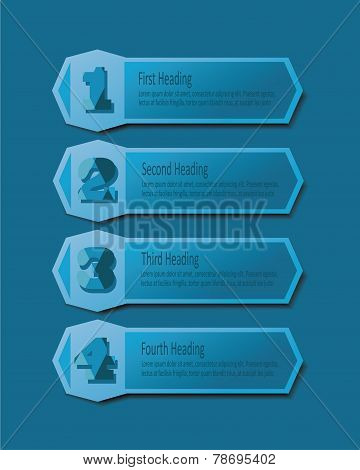 Blue headings template icons set