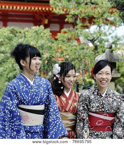 Woman Wearing Japanese Kimono