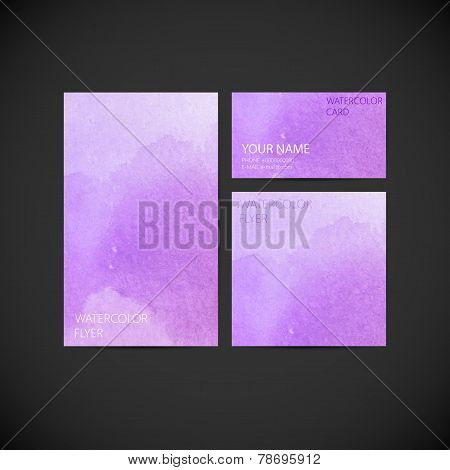 set of vector visual corporate identity with paint watercolor sp