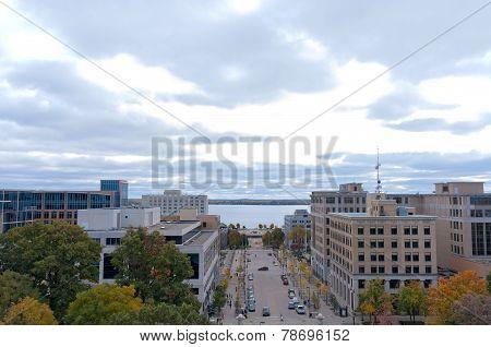Aerial Of Madison Toward Monona Terrace