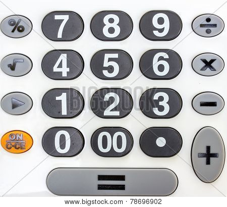 Numeric White Keypad, Close Up