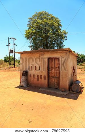 House With Electricity In A Village In Africa