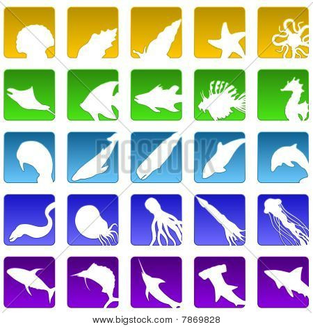 Twenty five sealife icons