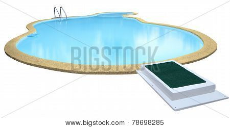 Swimming pool isolated on white background.