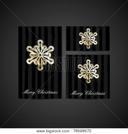vector illustration of a Xmas greeting cards with silver foil sn