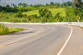 picture of twisty  - Twisty mountain road in nature  - JPG