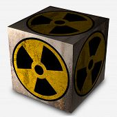 picture of polution  - 3d rendering of a box with a nuclear symbol - JPG