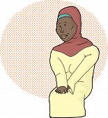foto of hijabs  - Beautiful Muslim female in hijab over halftone background - JPG